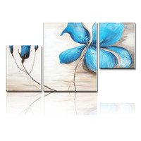 Ode-Rin Hand Painted Oil Paintings Blue Flowers 3 Panels Wood Inside Framed Hanging Wall Decoration