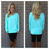 Mint Zip Up Fleece Sweater