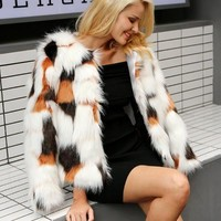 Foxx Patterned Faux Fur Coat