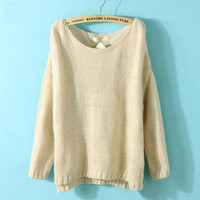 Beige Sleeve Head Loose Casual Sweater from Showmall