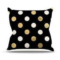 "KESS Original ""Golden Dots"" Black Gold Outdoor Throw Pillow"