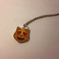 Cat Face Heart Eyes Emoji Acrylic Charm 18 Inch Silver Necklace
