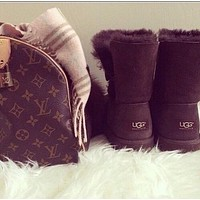 """""""UGG"""" Women Fashion Wool Snow Boots Calfskin Shoes A button (4-color) I"""