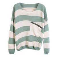 Women's Casual Green White Stripes Pullover Sweater with Pocket