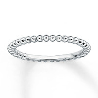 Beaded Stackable Ring Sterling Silver