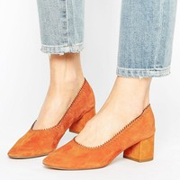 Mango Suede Block Heel Court Shoe at asos.com