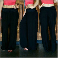 ON A VOYAGE GAUZE PALAZZO PANTS IN BLACK