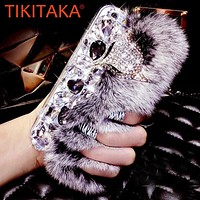Fashion Rabbit Fur Hair Plush Phone Cases For iPhone 8 7 6 6S Plus Cover Luxury DIY Bling Rhinestone Diamond Fox Hard Back Cover