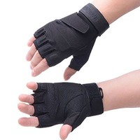 Vbiger Military Half-finger Fingerless Tactical Airsoft Hunting Riding Cycling Gloves (Black, L)