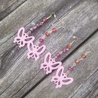 Pink Butterfly Earrings,Pink Earrings,Gypsy Earrings,Hippie Jewelry,Boho Bohemian Earrings,High Fashion Long Earrings