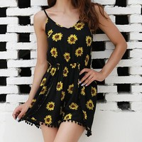 Flower Sunflower Bodycon Printed Sleeveless Jumpsuit Rompers