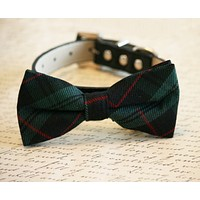 Plaid Green bow tie attached to collar, green plaid wedding pet bow tie, dog gifts , Wedding dog collar