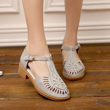 Toecap Sandals Pumps T Straps Cutout Women Shoes