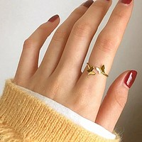Fashion Casual Butterfly Decor Cuff Ring 1pc