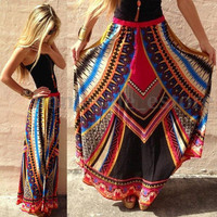 Women's Summer Bohemia Boho Pleated Printed Beach Long Maxi Skirt Dress Sundress