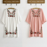 New Hot Sale Vintage  Mexican  Floral EMBROIDERED  Blouse DRESS women clothing  S M L Plus Size