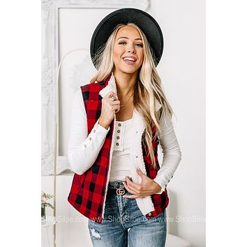 Today's The Day Buffalo Plaid Lined Vest | Red