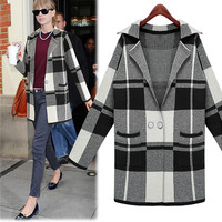 Plaid Long-Sleeve Notched Knitted Coat