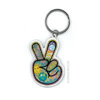 Day-Night Peace Fingers Keychain on Sale for $4.99 at HippieShop.com