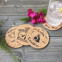 Witch and Wizard World Pub Themed Cork Coaster Set of 4