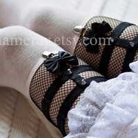Garters with Bows  Pair Sock Garters Black Elastic Harness Suspender dark Lolita Kawaii nu goth Gothic garters