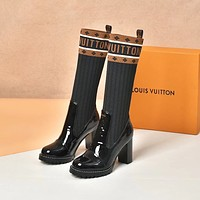 New Arrival LV Louis Vuitton Women's Leather BLACK SOCK BOOTS HEELS SHOES WARM WINTER 2020 -   FROM men jersep