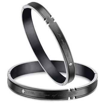 Gullei Trustmart : The flame of our love engraved Couple bracelet [GTMCBLT123] - $19.00-Couple Gifts, Cool USB Drives, Stylish iPad/iPod/iPhone Cases & Home Decor Ideas