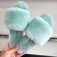 Ugg Sells Casual Fur Integrated Wool Slippers Fashionable Women's Flip-flops Shoes