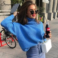 Simenual Fashion turtlenecks sweaters women winter autumn solid slim pullover female basic knitted lady sweater jumper