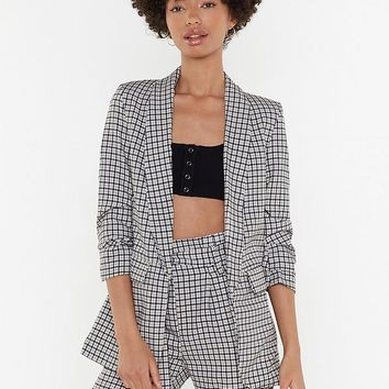 Check Runched Sleeve Blazer