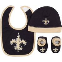 New Orleans Saints 3-Piece Bib, Hat & Bootie Set - Baby, Size: 0-6 MONTHS (Snt Team)