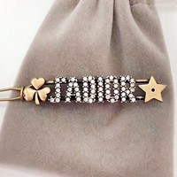 DIOR New fashion diamond letter star hair clip women