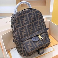 F Fendi Fashion New More Letter Canvas Leather Backpack Bag Book Bag Handbag