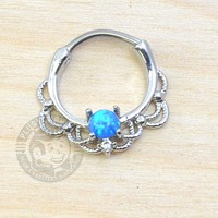 Lace with Blue Opalite Steel Septum Clicker