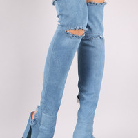 Shoe Republic LA Denim Knee Slit Chunky Heeled OTK Boots