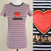 Black And White Striped T Shirt Women Round Neck Short Sleeve Striped Tops Casual Slim Cotton Blends Tshirt Female Heart Pattern