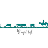 """Cattle Drive Windshield Decal Tailgate Bumper Cowgirl Cowboy Western Horse Riders Cow Steer Truck Trailer Sticker Window Graphic 4.5"""" x 40"""""""