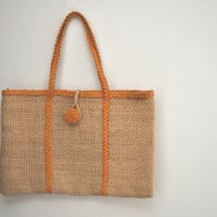 Vintage Vacation Straw Beach Tote 1960s1970s Handmade in by SewRed