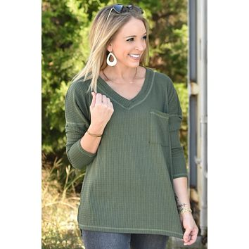 Everyday Love Waffle Top - Olive
