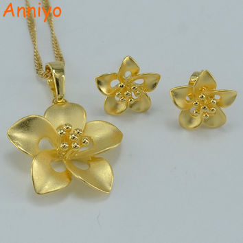 Anniyo Small Flowers Jewelry Set Necklace Pendant Earrings Gold Color Bridal Arab African Sets #000104