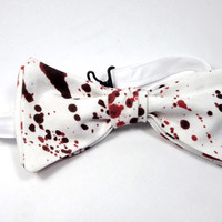 blood spatter bowtie horror movie serial killer  bow tie bloody tie halloween accessory