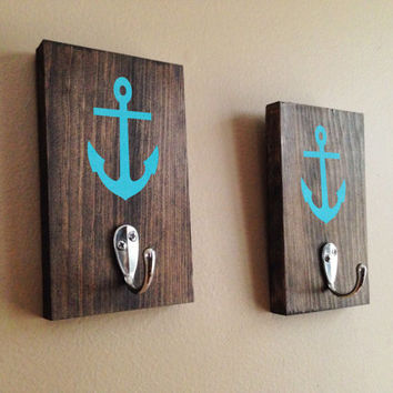 Anchor Wood Sign Towel Hook (Set of 2), Stained, Hand Painted, Coat hook, Beach decor, Anchor decor, Nautical decor, Wall Towel Hook