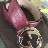 Gucci Belt Made in Itay Burgandy Maroon Wine G Buckle Silver 36 90cm