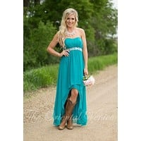 2017 Teal Turquoise Bridesmaid Dresses For Country Weddings Beaded Belt High Low Wedding Party Dress Short Maid Honor Gowns