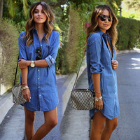 New Fashion Casual Jeans Blue Women Partywear Holiday Dress_ 471