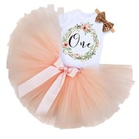Kid Girls 1st Birthday Princess Dress born Infant Baby Girl Christmas Outfit Floral Tutu Ball Gown Party Dresses Girl Clothes
