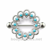 Tribal Stone Embedded Nipple Shield with 316L Surgical Steel Barbell 14ga Nipple Ring
