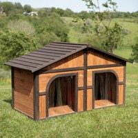 Merry Products Darker Stain Duplex Dog House with FREE Dog Doors | www.hayneedle.com