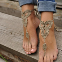 Crochet Ivory Barefoot Sandals Nude shoes, Foot jewelry, Wedding, Victorian Lace, Sexy, Yoga, Anklet , Bellydance, Gift,Steampunk, Beach Pool + Free Shipping + Gift Box