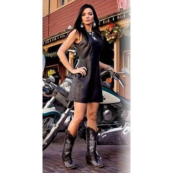 Cowgirl Justice Black Faux Leather Dress